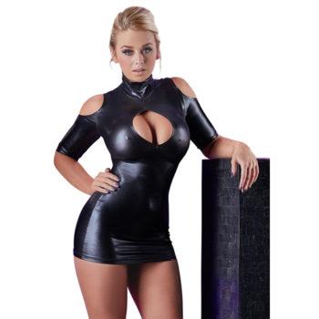 Cold Shoulder Wetlook Mini Jurkje - Zwart