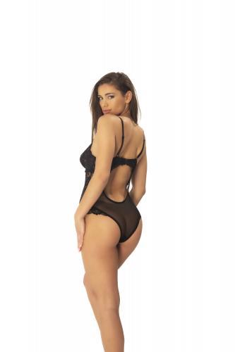 Kanten Body Met Opvallende Achterkant - Zwart