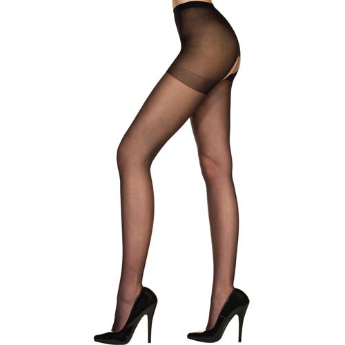 Klassieke Panty Met Open Kruis - Zwart