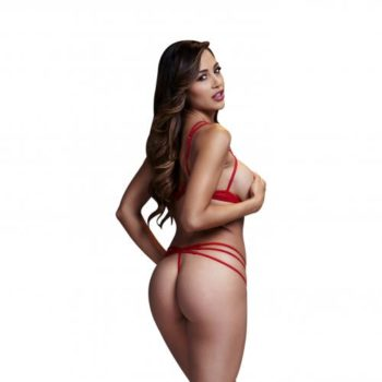 Baci - Strappy BH-Set Met Open Cups - Rood