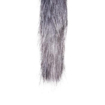 Grote zilverkleurige buttplug met grijze vossenstaart
