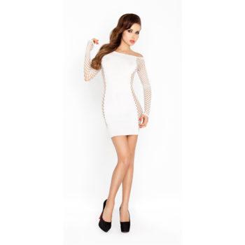 Wit mini jurkje met netstof mouwen