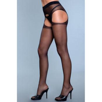Rare Sight Jarretel Panty Met Open Kruisje - Zwart