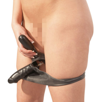 Latex Slip Met Opblaasbare Dildo En Buttplug