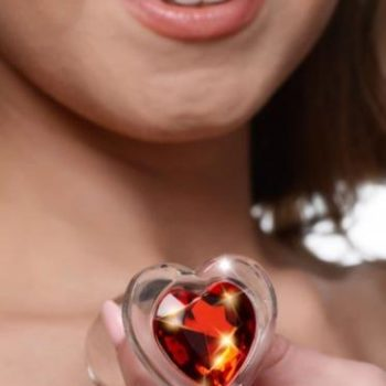 Red Heart Anaalplug Van Glas Met Steentje - Small