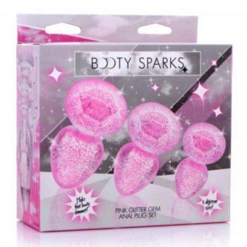 Glitter Gem Anaalplug Set - Roze