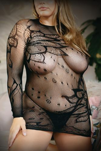 Made For You Netstof jurkje Met String - Curvy