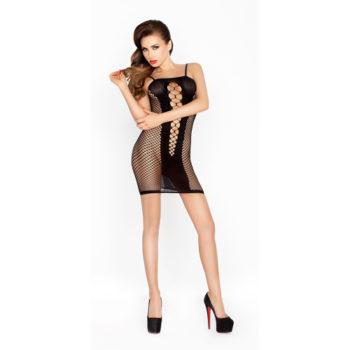 Doorzichtig zwart jurkje met open zijkanten