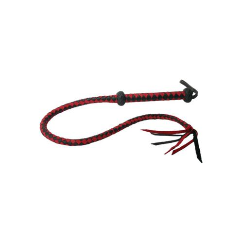 Premium Red And Black Leren Zweep