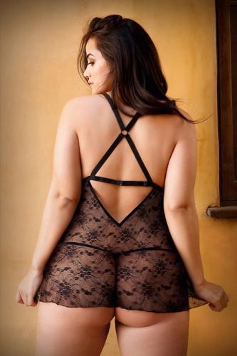 Elena Kanten Babydoll Met Sexy String - Curvy